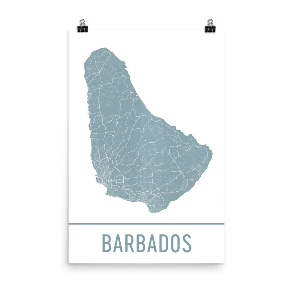 Barbados Street Map Poster Black