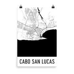 Cabo San Lucas Street Map Poster Blue