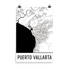 Puerto Vallarta Street Map Poster Blue