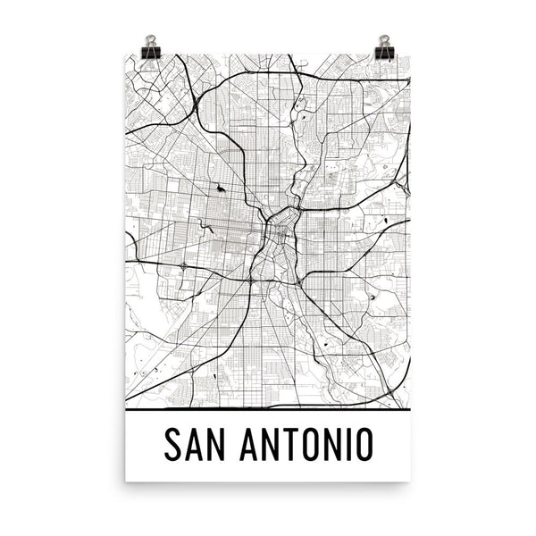 San Antonio TX Street Map Poster White