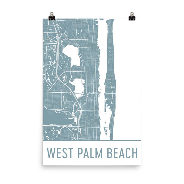 West Palm Beach Florida Street Map Poster Black