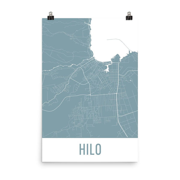Hilo HI Street Map Poster White
