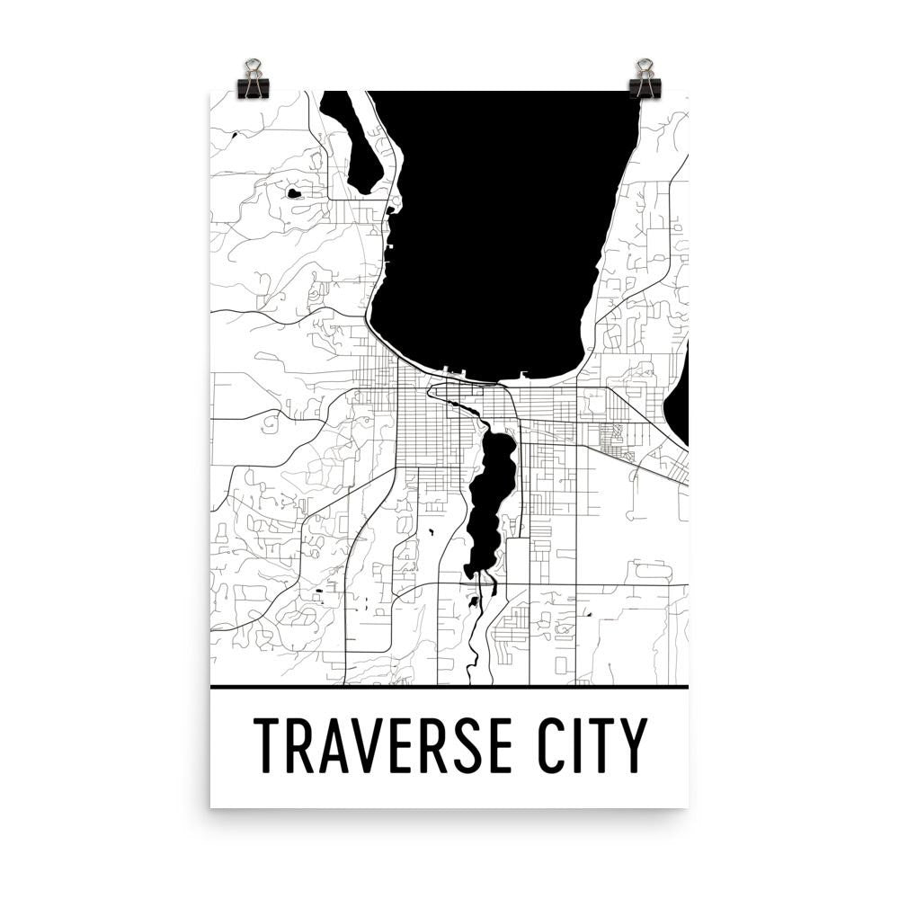 Traverse City MI Street Map Poster White