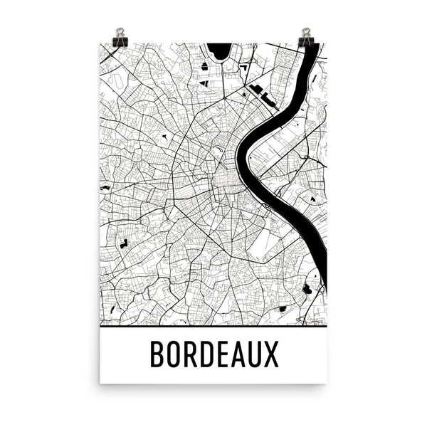 Bordeaux France Street Map Poster White