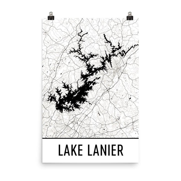 Lake Lanier GA Street Map Poster White