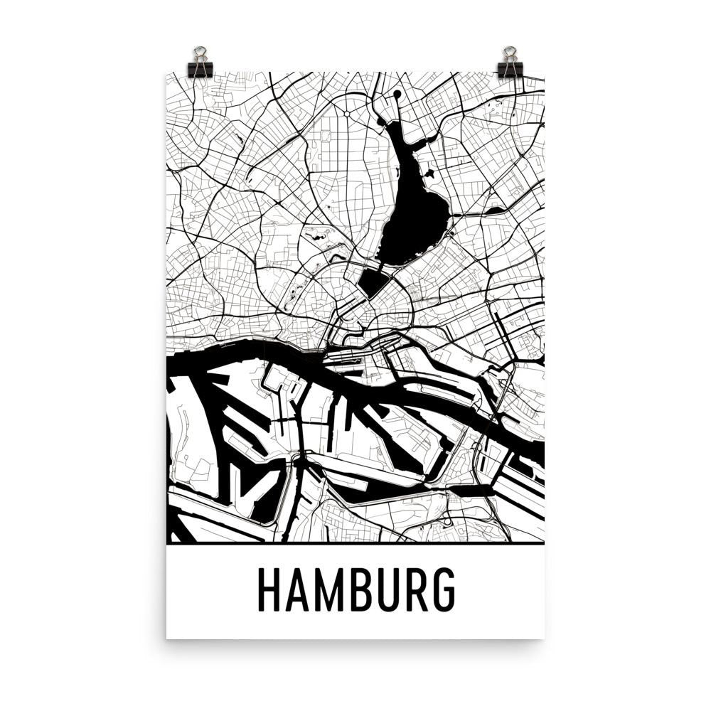Hamburg Germany Street Map Poster White
