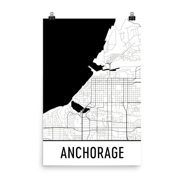 Anchorage Street Map Poster White