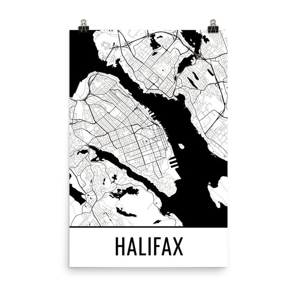 Halifax NS Street Map Poster White