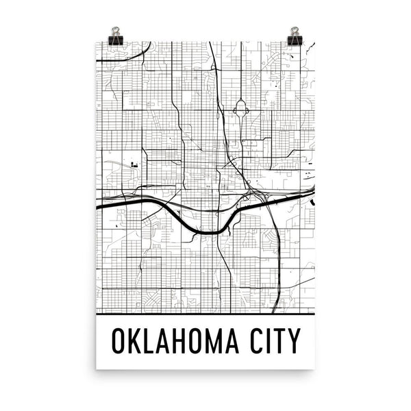 Oklahoma City Street Map Poster White