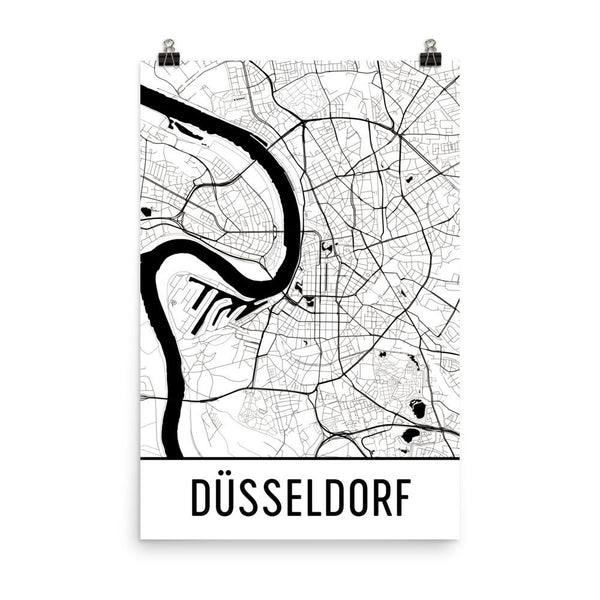 Dusseldorf Germany Street Map Poster White