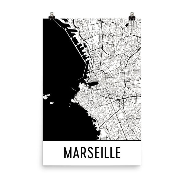 Marseille France Street Map Poster White