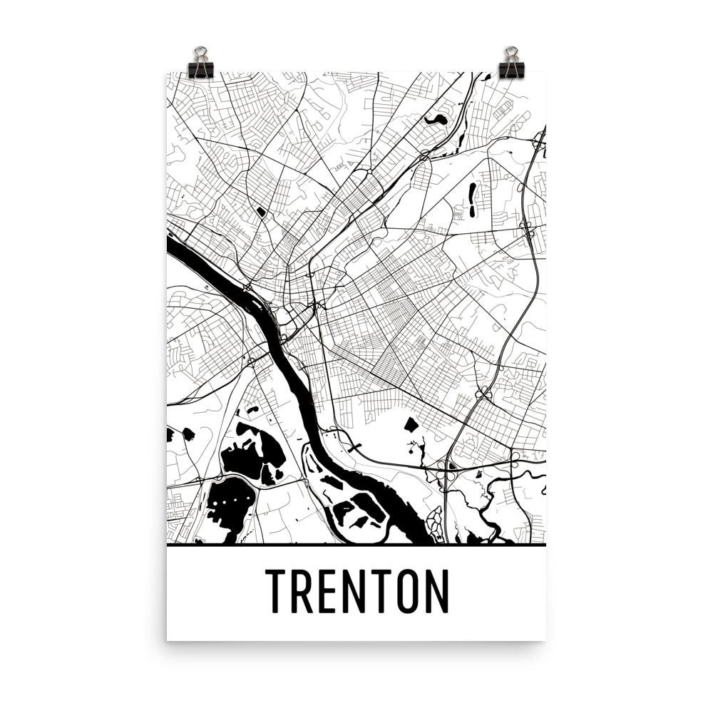 Trenton New Jersey Street Map Poster White