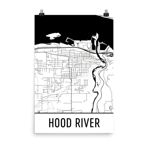Hood River OR Street Map Poster White