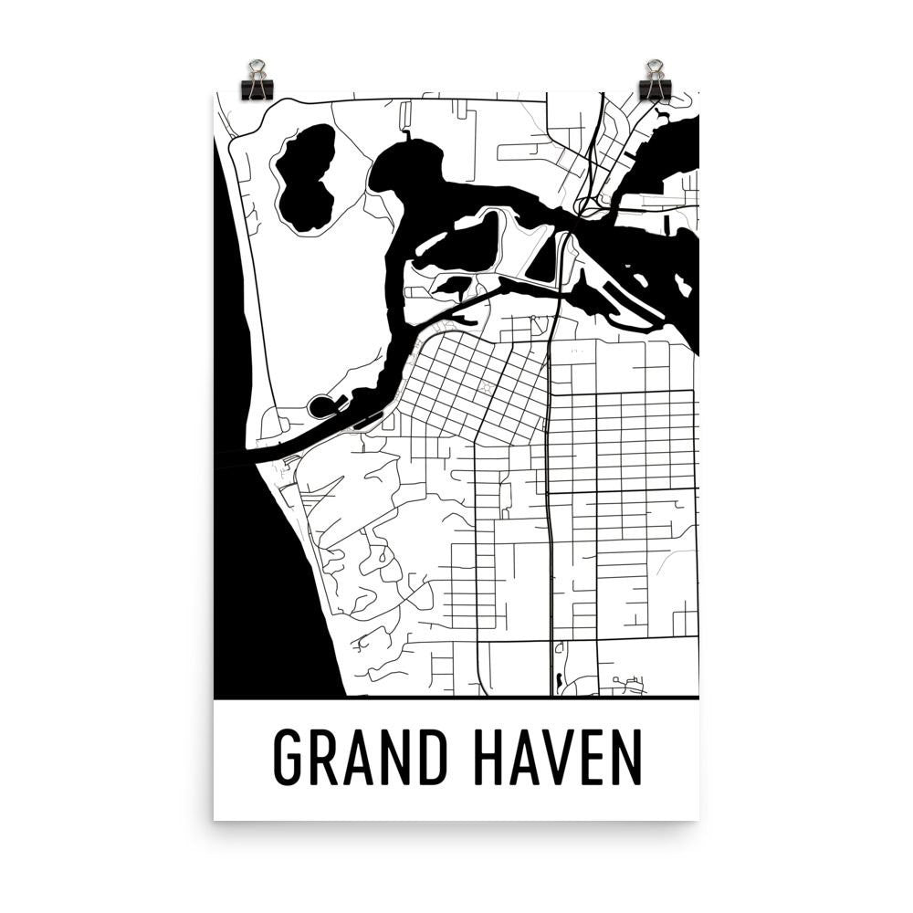 Grand Haven Michigan Street Map Poster Wall Print By Modern Map Art