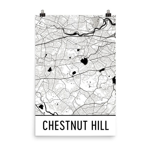 Chestnut Hill MA Street Map Poster White