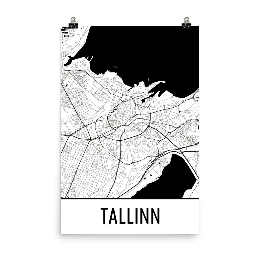 Tallinn Estonia Map, Art, Print, Poster, Wall Art From $29.99 - ModernMapArt - Modern Map Art