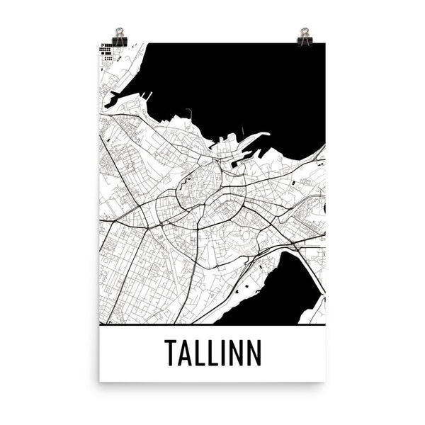 Tallinn Estonia Street Map Poster White