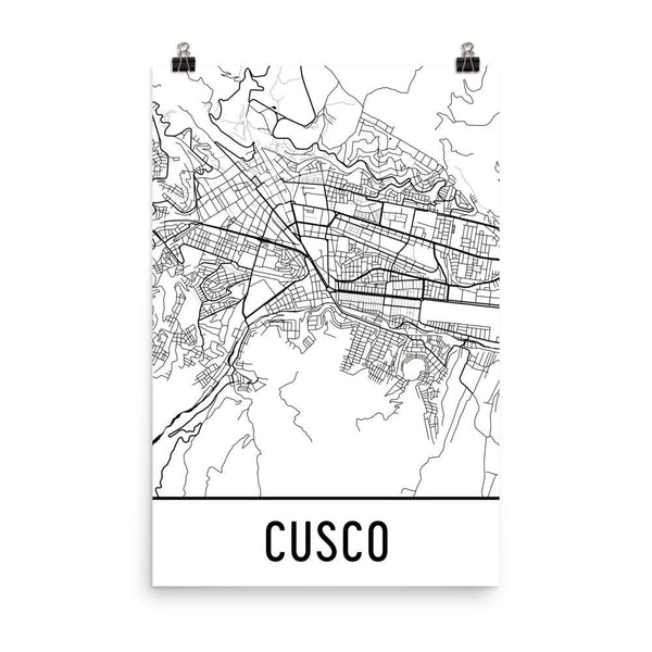 Cusco Peru Street Map Poster White