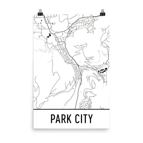 Park City UT Street Map Poster White