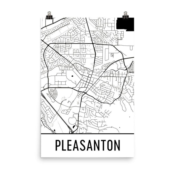 Pleasanton CA Street Map Poster White
