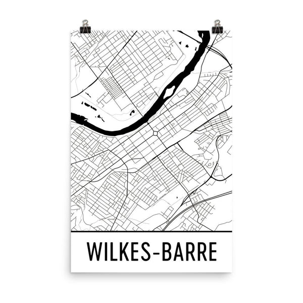 Wilkes-Barre PA Street Map Poster White