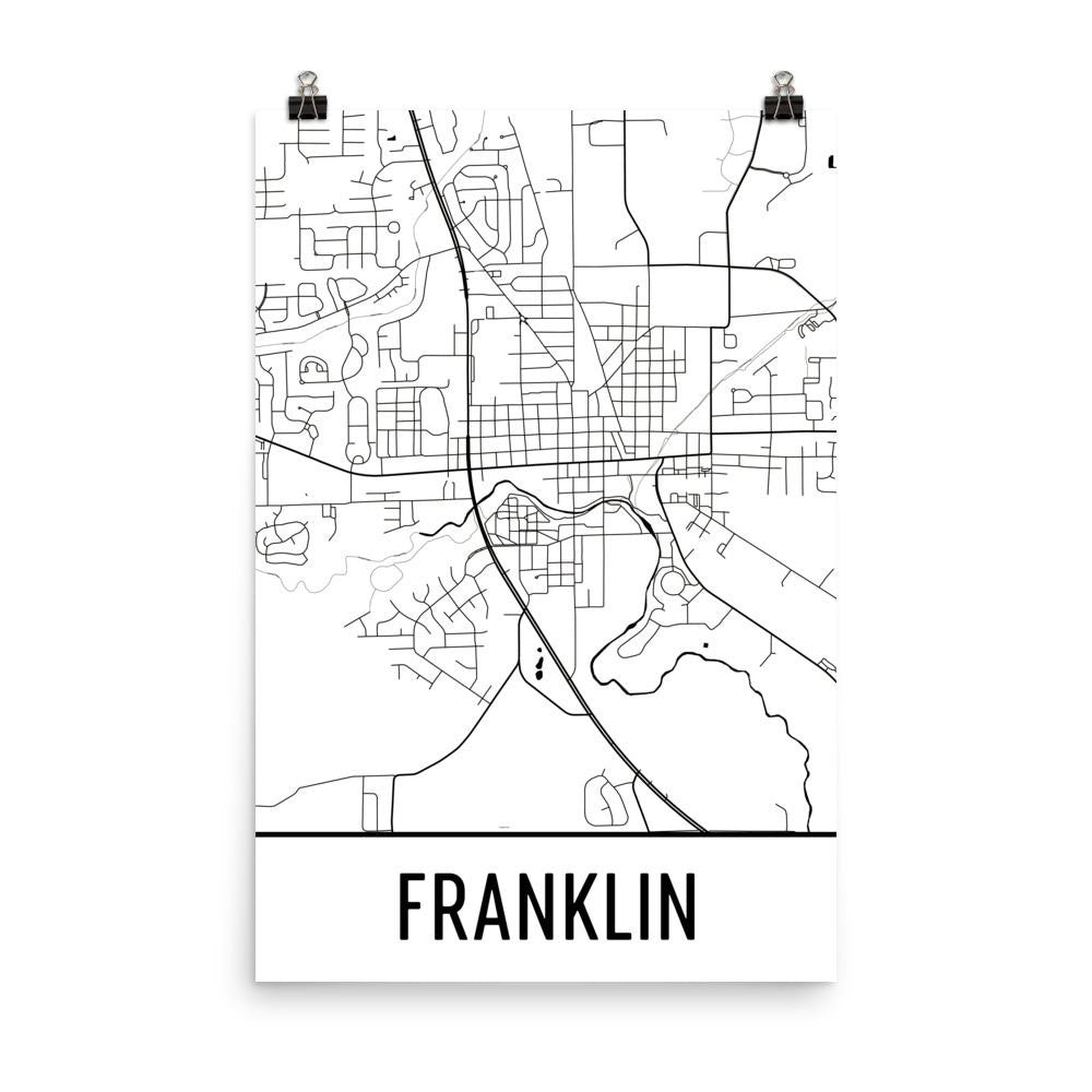 Franklin IN Street Map Poster White