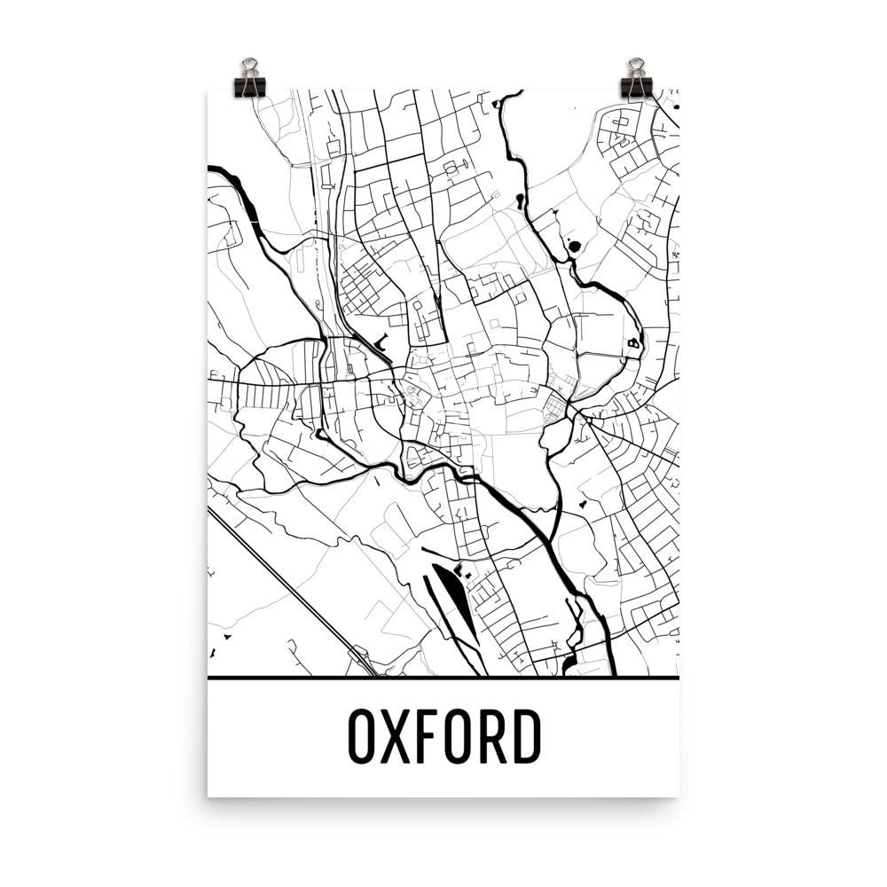 Oxford UK Street Map Poster White