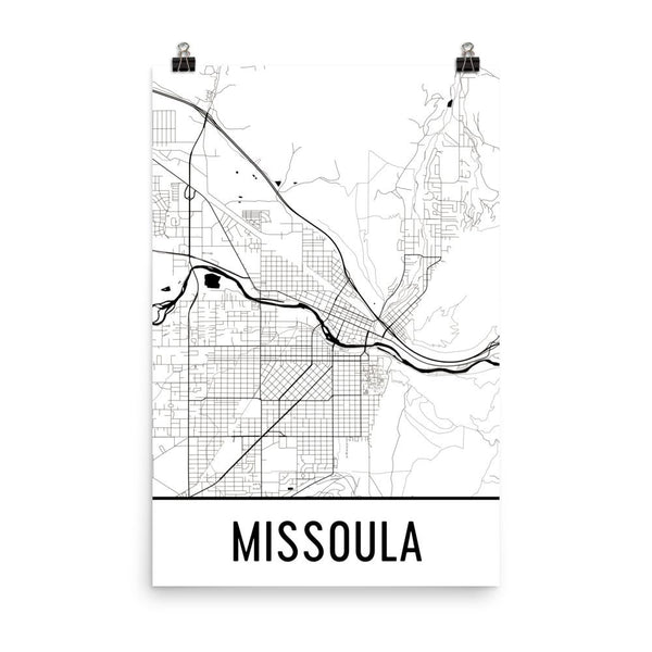 Missoula MT Street Map Poster White