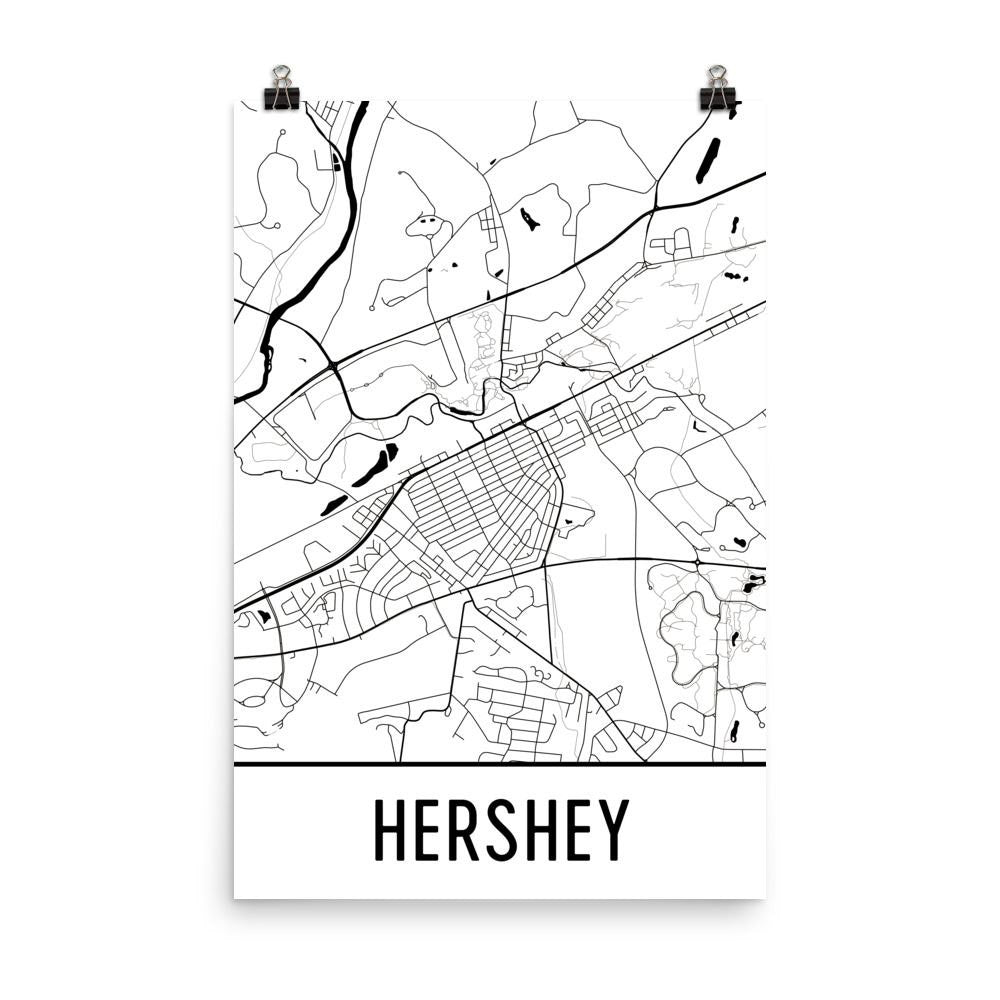 Hershey PA Street Map Poster White