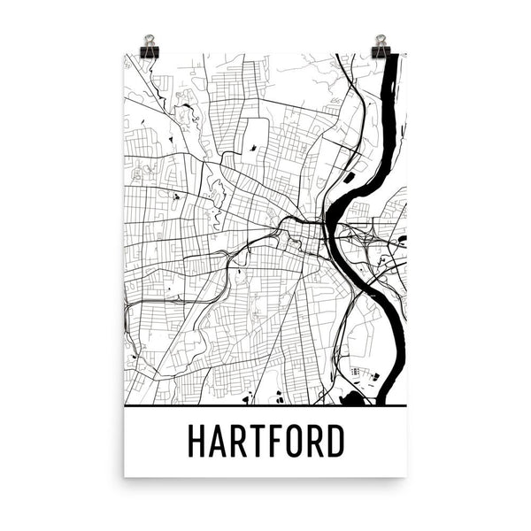 Hartford CT Street Map Poster White