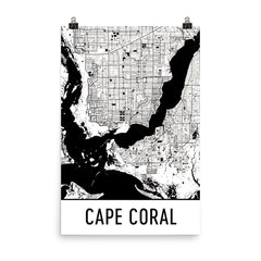 Cape Coral Florida Street Map Poster Blue