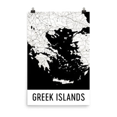 Greek Islands Greece Street Map Poster Blue