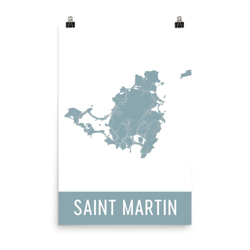 Saint Martin Street Map Poster Black