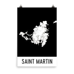 Saint Martin Street Map Poster Blue