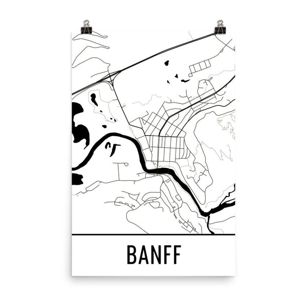 Banff Canada Street Map Poster White