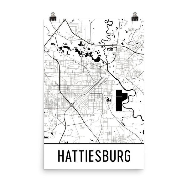 Hattiesburg Street Map Poster White