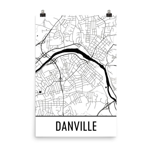 Danville Virginia Street Map Poster White