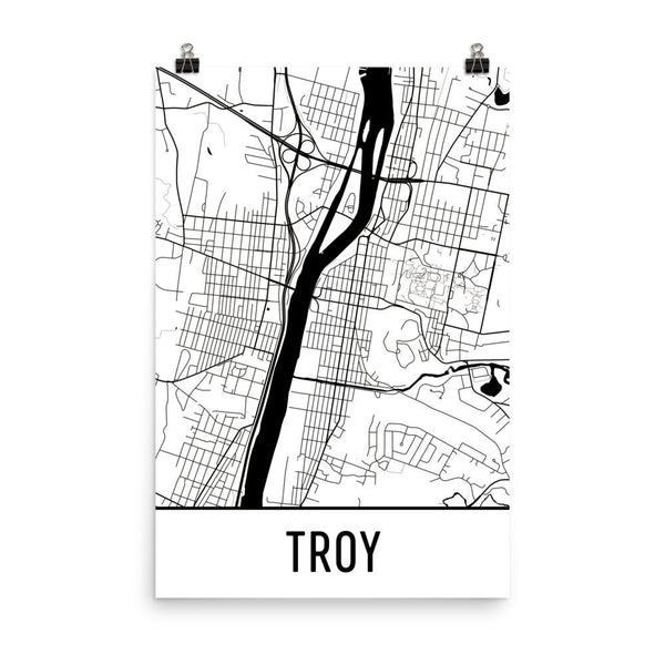 Troy New York Street Map Poster White