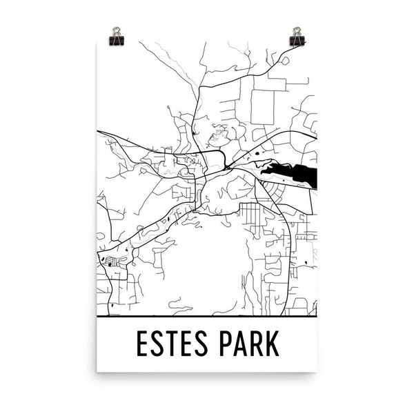 Estes Park Colorado Street Map Poster White