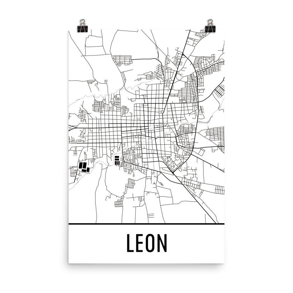 Leon nicaragua street map poster wall print by modern map art leon nicaragua street map poster publicscrutiny Image collections