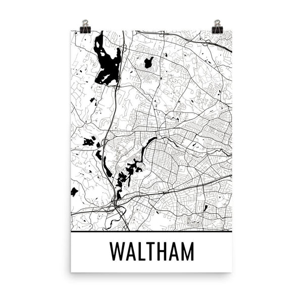 Waltham Massachusetts Street Map Poster White