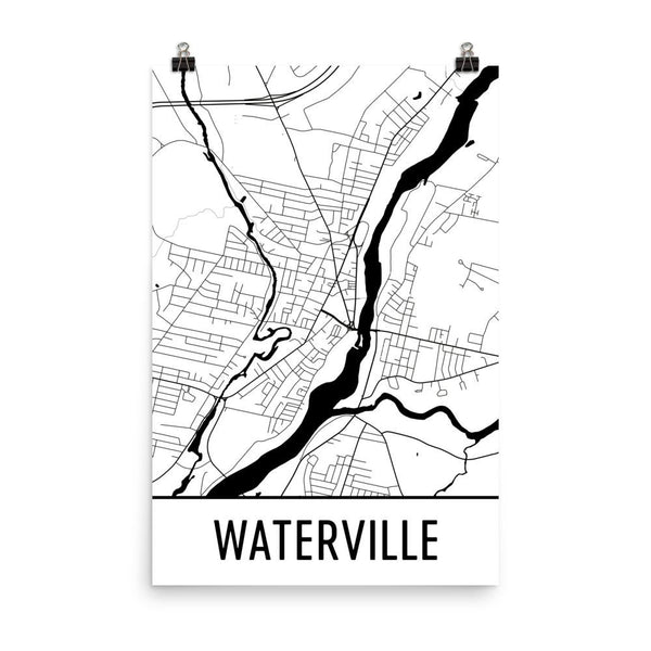 Waterville Maine Street Map Poster White