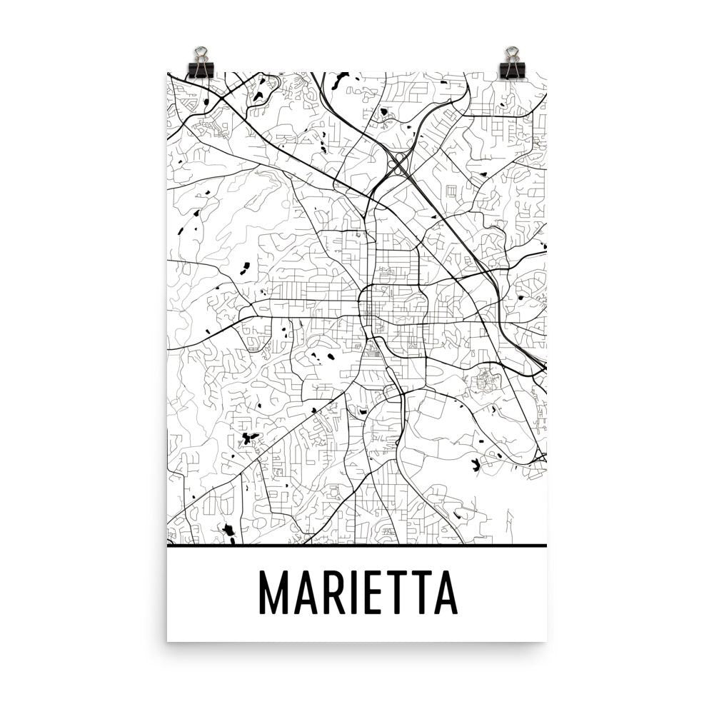 Marietta Georgia Street Map Poster White