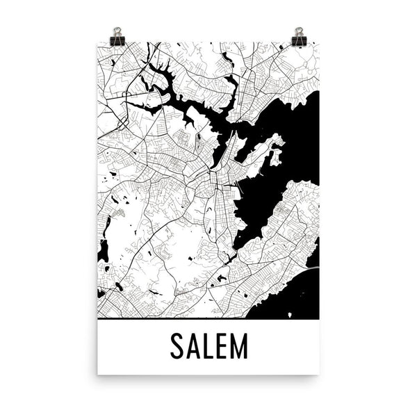 Salem MA Street Map Poster White