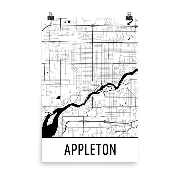 Appleton WI Street Map Poster White