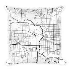 Ames black and white throw pillow with city map print 18x18