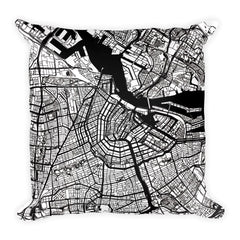 Amsterdam black and white throw pillow with city map print 18x18
