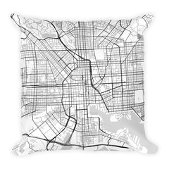 Baltimore black and white throw pillow with city map print 18x18