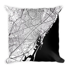 Barcelona black and white throw pillow with city map print 18x18