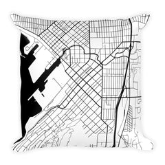 Bellingham black and white throw pillow with city map print 18x18